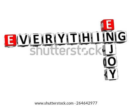 3D Crossword Everything Enjoy on white background