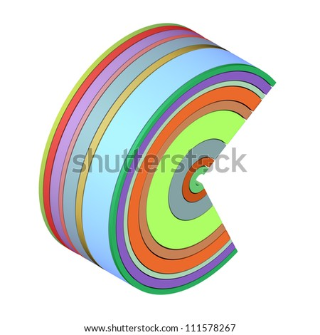 3d curved rectangular c shapes in rainbow color on white