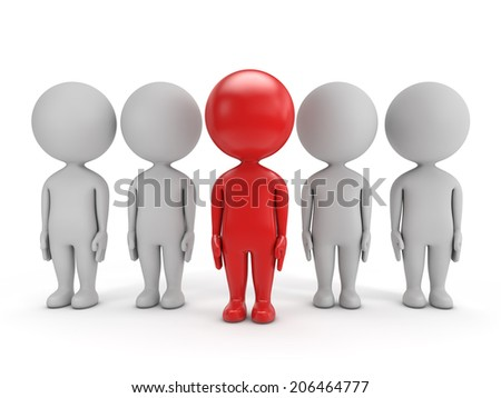 3d cute people - red leader and team  isolated white background
