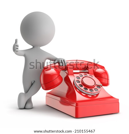 3d cute people - standing with red phone contact us concept isolated white background