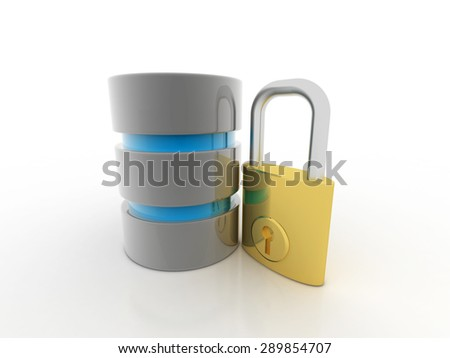 3d database with padlock security concept