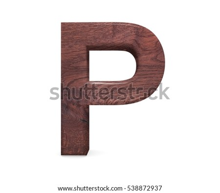 Single Sawn Wooden Letter P Symbol Stock Photo 461683192 ...