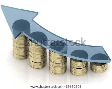 3d diagram of golden coins with a arrow on a white background