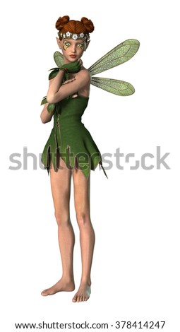 3D digital render of a beautiful spring fairy flying isolated on white background