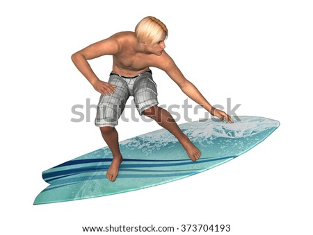 3D digital render of a male handsome surfer isolated on white background