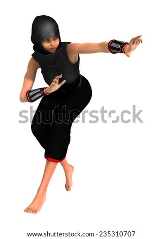3D digital render of a ninja isolated on white background