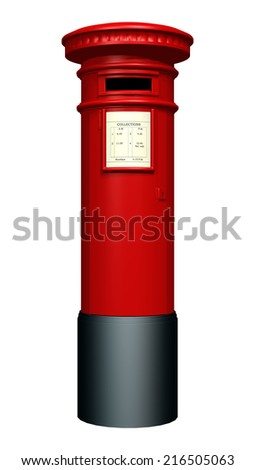 3D digital render of a red pillar mailbox isolated on white background