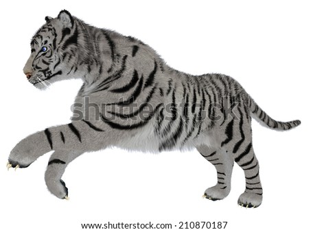 3D digital render of a running white tiger isolated on white background