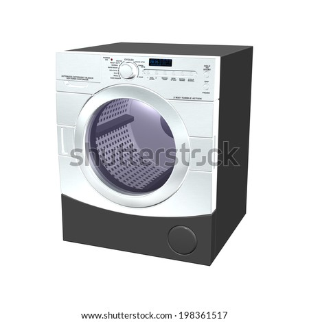 3D digital render of a washer isolated on white background