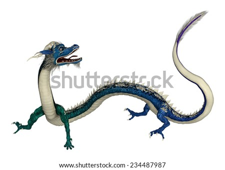 3D digital render of an Eastern dragon in green and blue isolated on white background