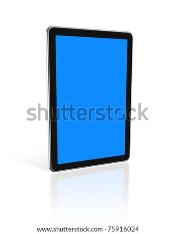 3D digital tablet pc, computer screen isolated on white. With 2 clipping paths : global scene clipping path and screens clipping path to place your designs or pictures