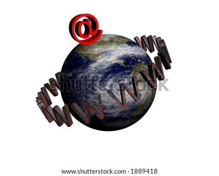 3D earth surrounded by www and with internet sign