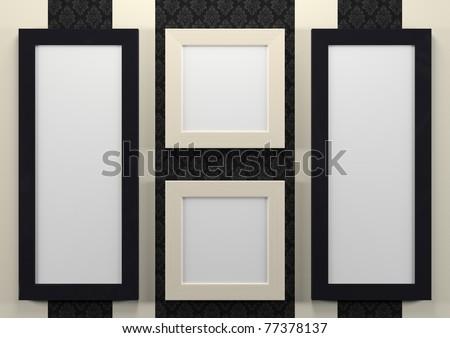 3d empty frames on wall