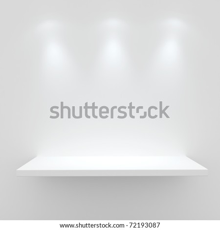 3d Empty shelf for exhibit isolated on white