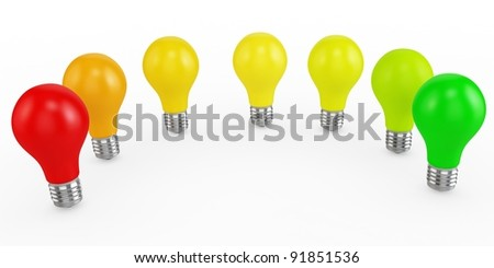 3d energy efficiency concept with light bulbs on white background