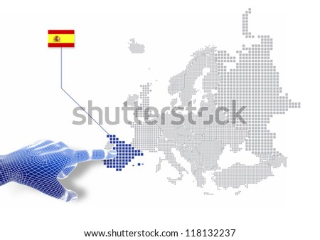 3d Finger touch on display Spain map and flag.