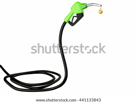 3d Fuel nozzle with hose isolated on white background
