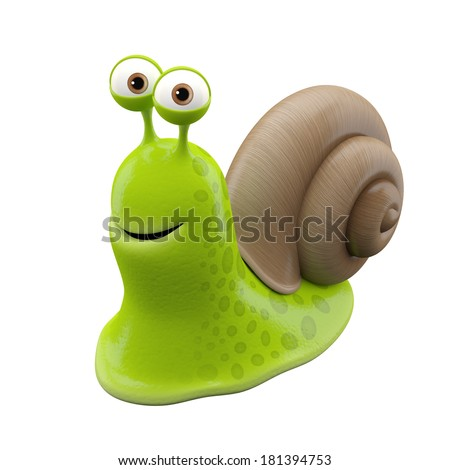3d funny character happy cartoon snail comical fantasy animal for