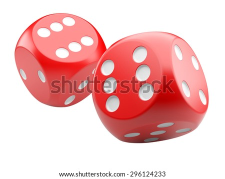 3d game red dices isolated on white background
