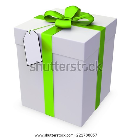 3d gift box with blank tag over white background