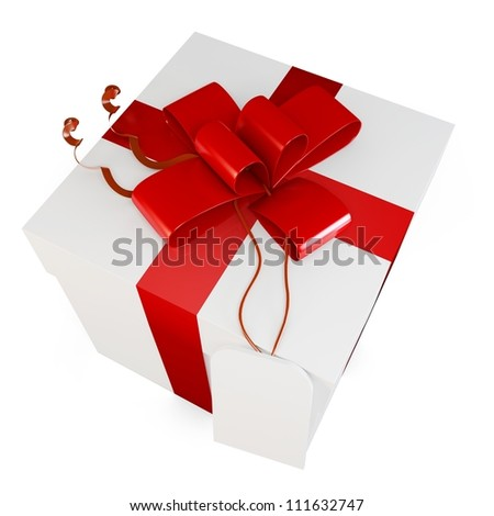 3d gift box with red bow on white background