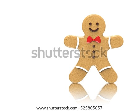 3D Gingerbread man on a white background with reflection