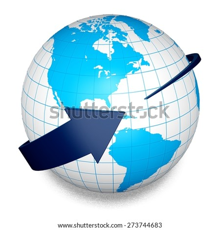 3D. Globe, Earth, World Map. Elements of this image furnished by NASA.