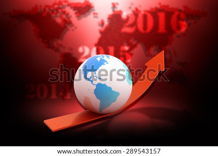 3d,globe with an up arrow in Color background
