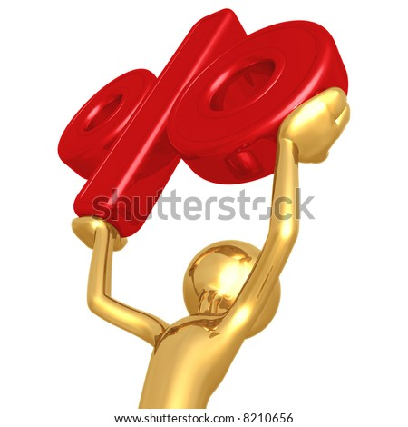 3d gold man is lifting a red percent