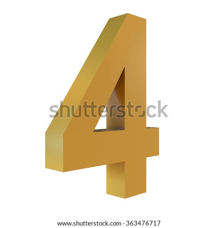 3D Gold Number 4  Isolated White Background