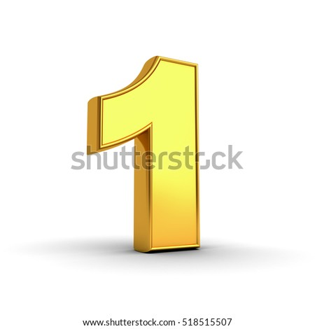 3D gold number one isolated over white background with shadow and reflection. 3D rendering.