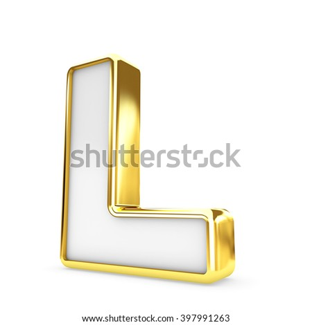 3d gold - white letter L isolated white background.
