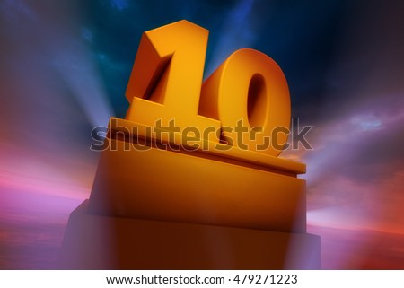 3D Golden number Ten Three Dimensional Rendering with spotlights and dramatic sky
