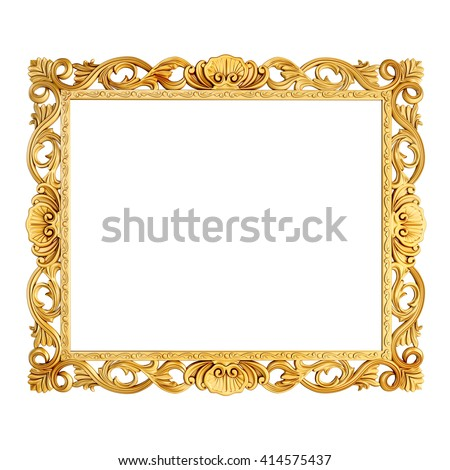 3d golden vintage classic frame on white background