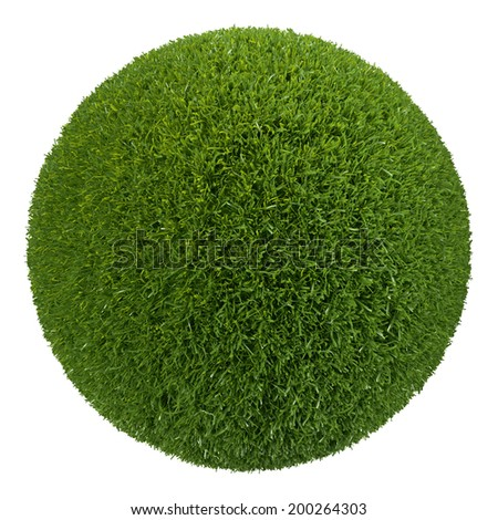3d grass ball, isolated object