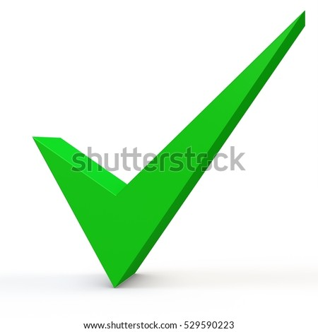 3d green check mark on white background 3D illustration