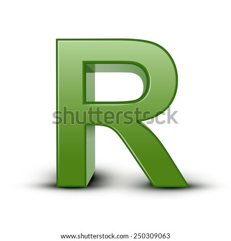 3d green letter R isolated on white background
