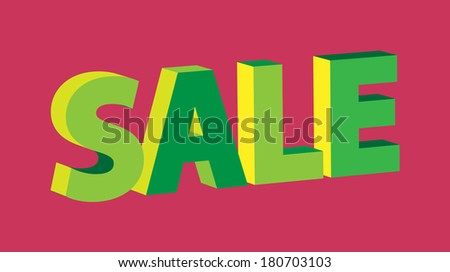 3D green retro sale sign on blue background (raster version, available as vector too)