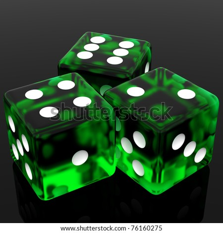 3D Green rolling dice on  black background