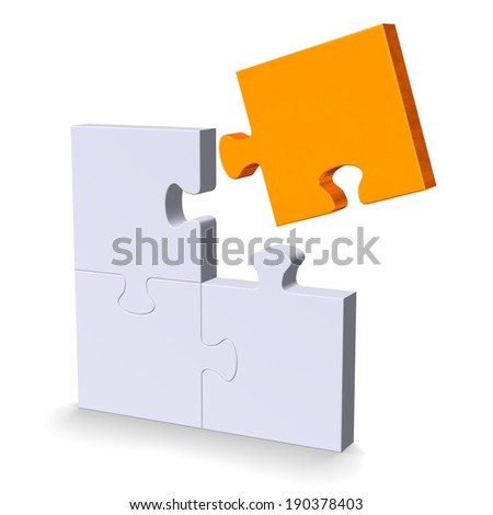 3d grey puzzle with orange flying missing piece standing isolated on white