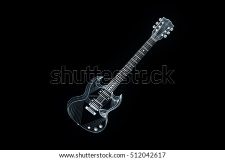 3D Guitar in Hologram Wireframe Style. Nice 3D Rendering