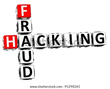 3D Hacking Fraud Crossword over white background