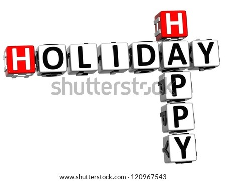 3D Happy Holiday Crossword on white background