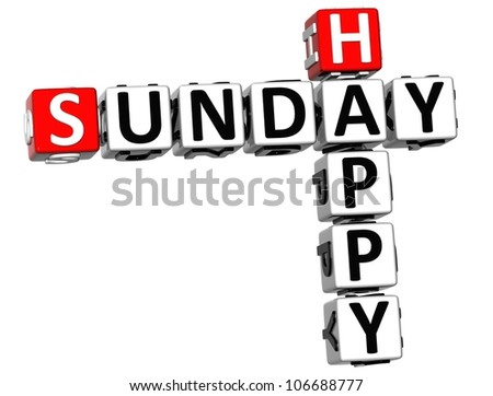 3D Happy Sunday Crossword on white background
