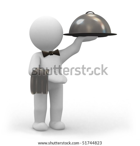 3d human waiter with a big food dome