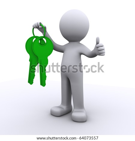 3d human with key and locker in hands isolated on white background