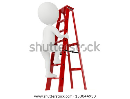 3d humanoid character up a red ladder on white