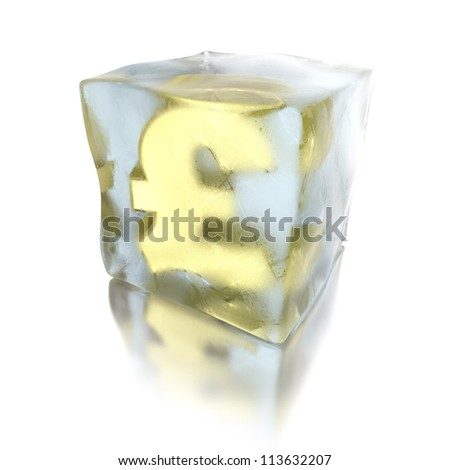 3d ice cube with golden pound inside
