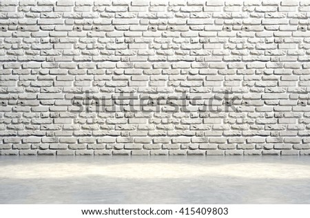 3D illustration,Brick white wall and concrete floor