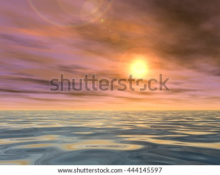 3D illustration concept or conceptual sunset or sunrise background with the sun close to horizon and sea or ocean for nature, romantic, dramatic, light, evening, morning, peace, atmosphere or weather